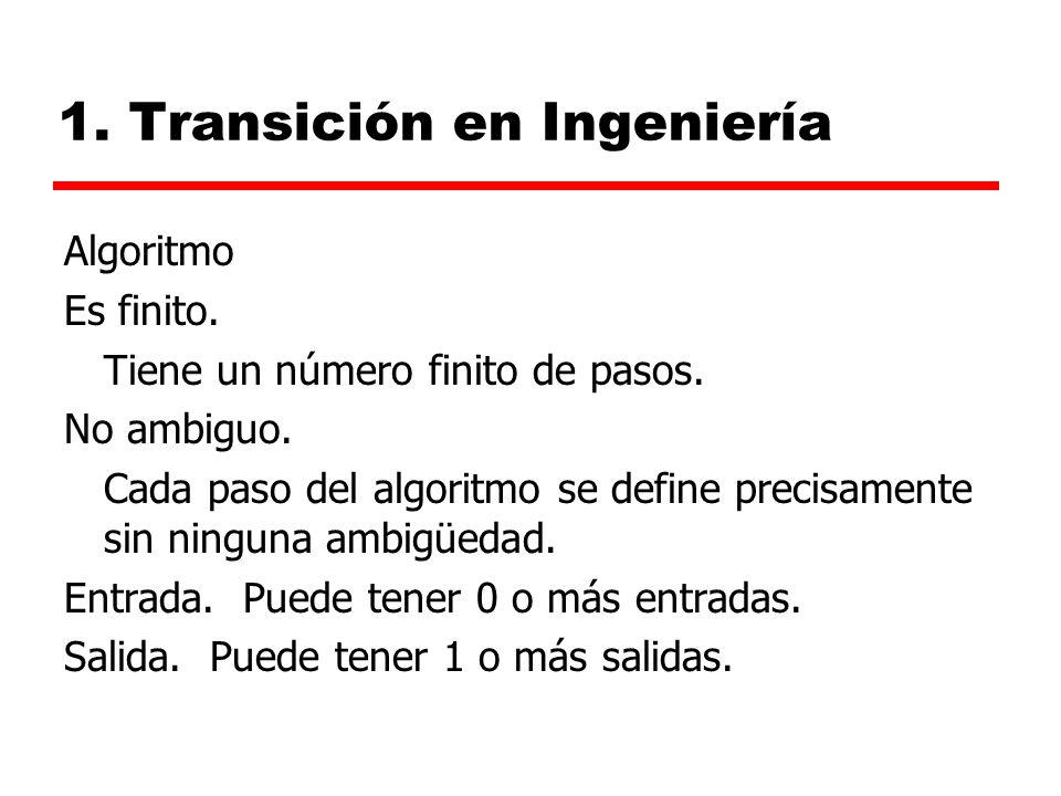 1.Transición en Ingeniería Algoritmo Es finito. Tiene un número finito de pasos.