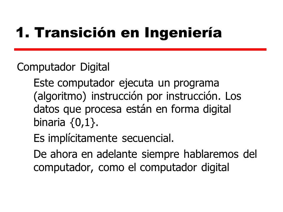 1. Transición en Ingeniería Computador Digital Este computador ejecuta un programa (algoritmo) instrucción por instrucción. Los datos que procesa está