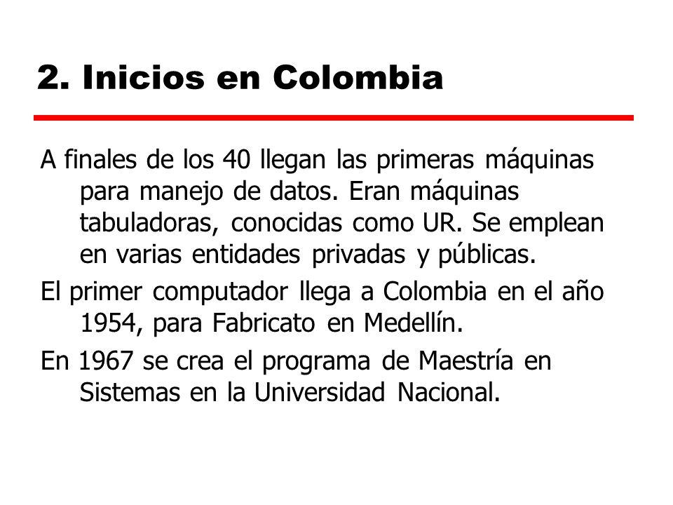 2.Inicios en Colombia A finales de los 40 llegan las primeras máquinas para manejo de datos.