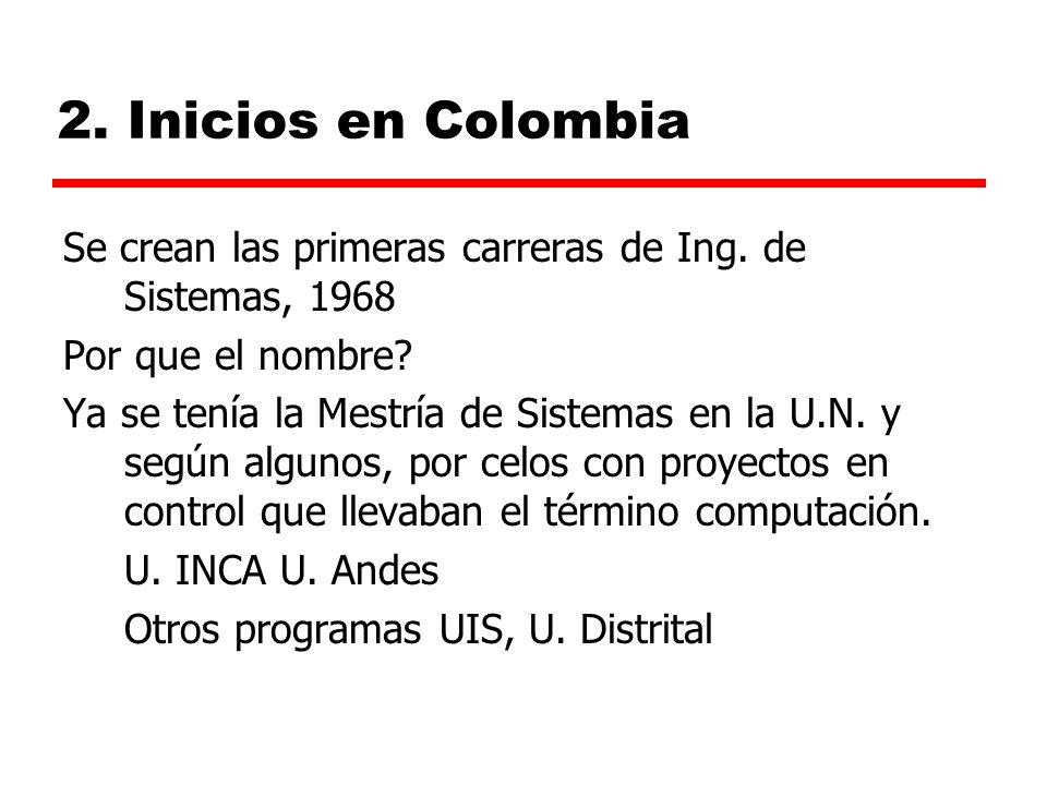 2.Inicios en Colombia Se crean las primeras carreras de Ing.