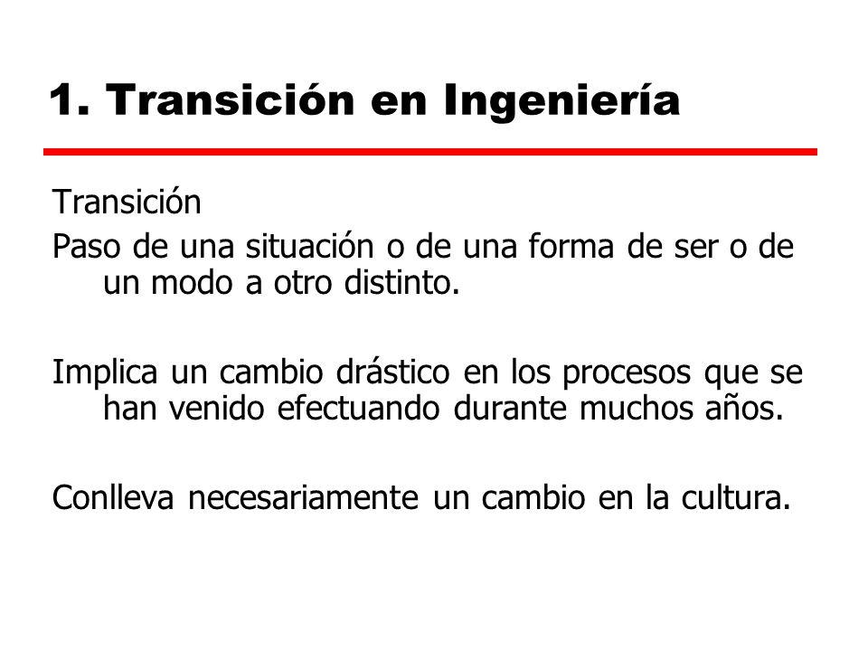 1. Transición en Ingeniería Transición Paso de una situación o de una forma de ser o de un modo a otro distinto. Implica un cambio drástico en los pro