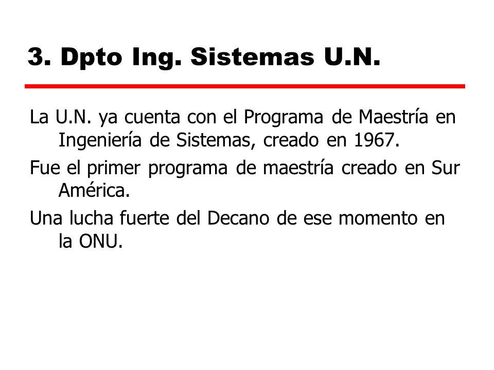 3.Dpto Ing. Sistemas U.N. La U.N.
