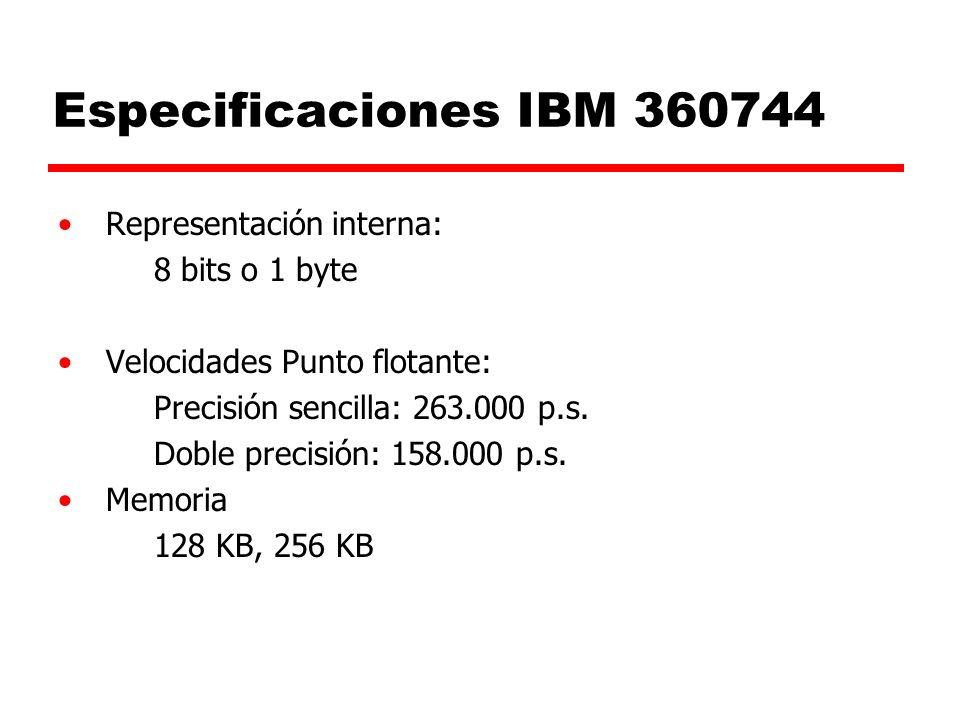 Especificaciones IBM 360744 Representación interna: 8 bits o 1 byte Velocidades Punto flotante: Precisión sencilla: 263.000 p.s.