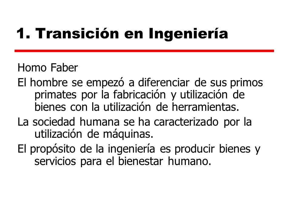 1. Transición en Ingeniería Homo Faber El hombre se empezó a diferenciar de sus primos primates por la fabricación y utilización de bienes con la util
