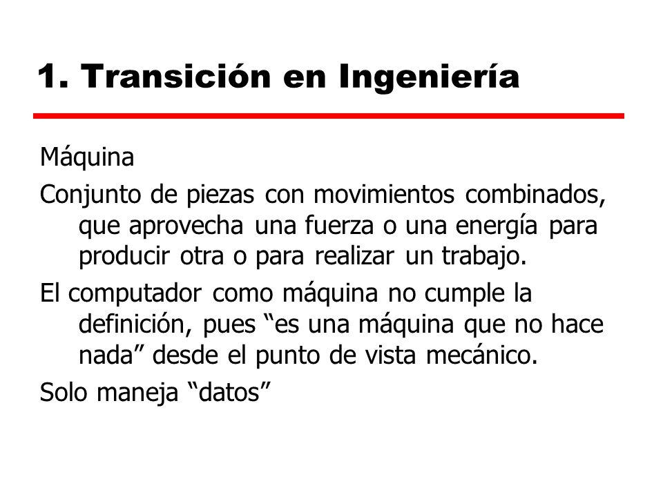 1. Transición en Ingeniería Máquina Conjunto de piezas con movimientos combinados, que aprovecha una fuerza o una energía para producir otra o para re