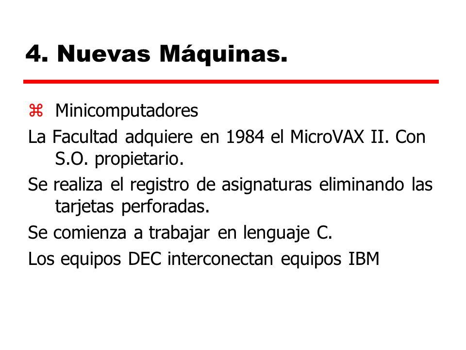 4.Nuevas Máquinas. zMinicomputadores La Facultad adquiere en 1984 el MicroVAX II.