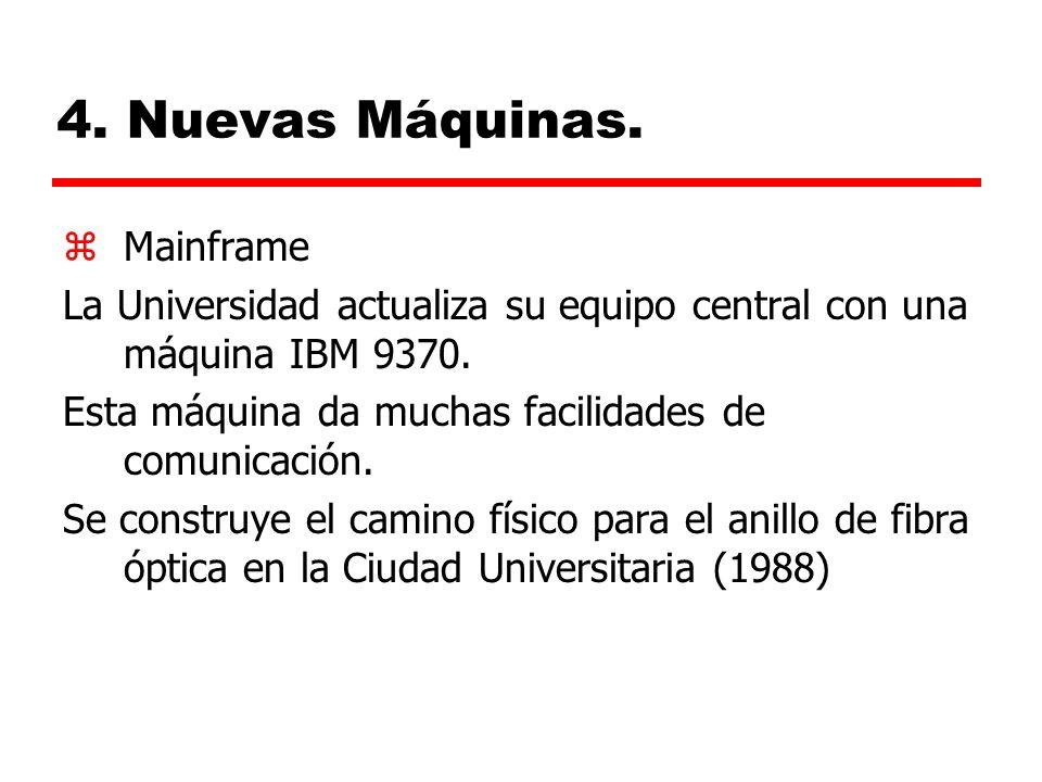 4.Nuevas Máquinas. zMainframe La Universidad actualiza su equipo central con una máquina IBM 9370.
