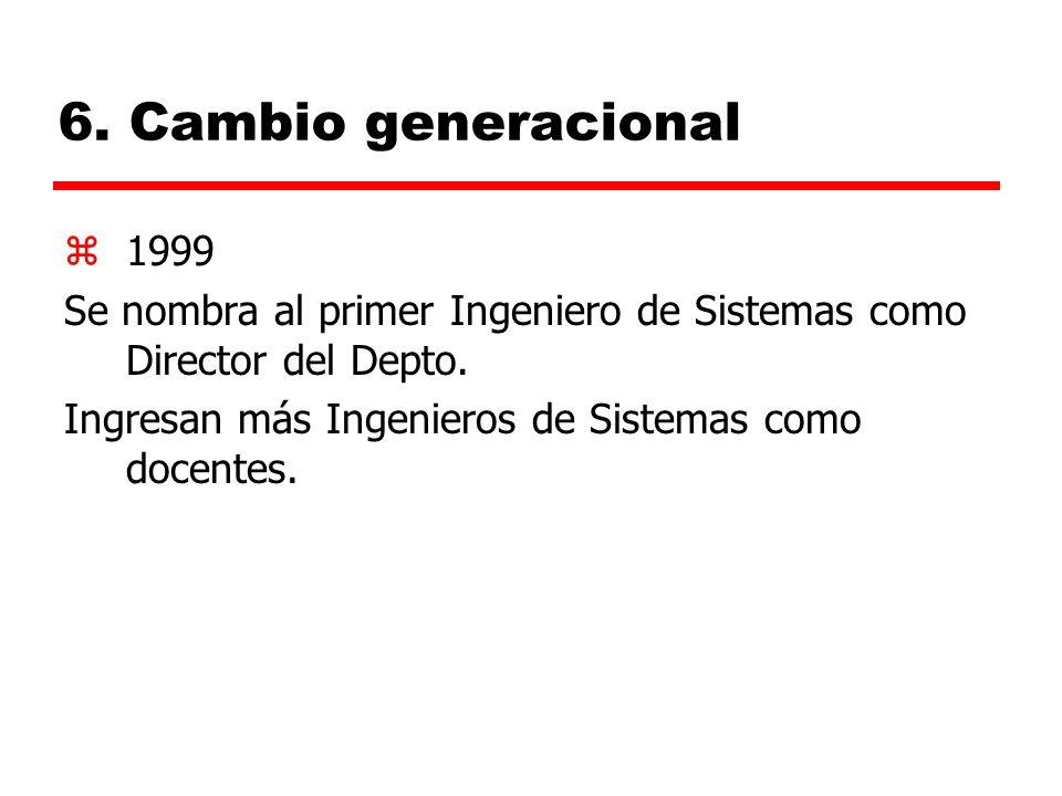 6.Cambio generacional z1999 Se nombra al primer Ingeniero de Sistemas como Director del Depto.