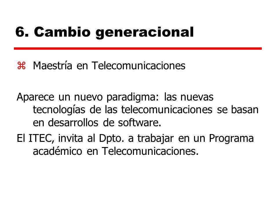 6. Cambio generacional zMaestría en Telecomunicaciones Aparece un nuevo paradigma: las nuevas tecnologías de las telecomunicaciones se basan en desarr