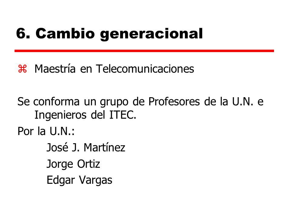 6. Cambio generacional zMaestría en Telecomunicaciones Se conforma un grupo de Profesores de la U.N. e Ingenieros del ITEC. Por la U.N.: José J. Martí