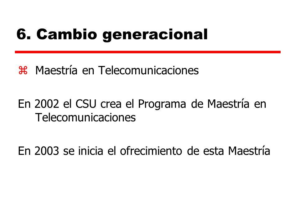6. Cambio generacional zMaestría en Telecomunicaciones En 2002 el CSU crea el Programa de Maestría en Telecomunicaciones En 2003 se inicia el ofrecimi