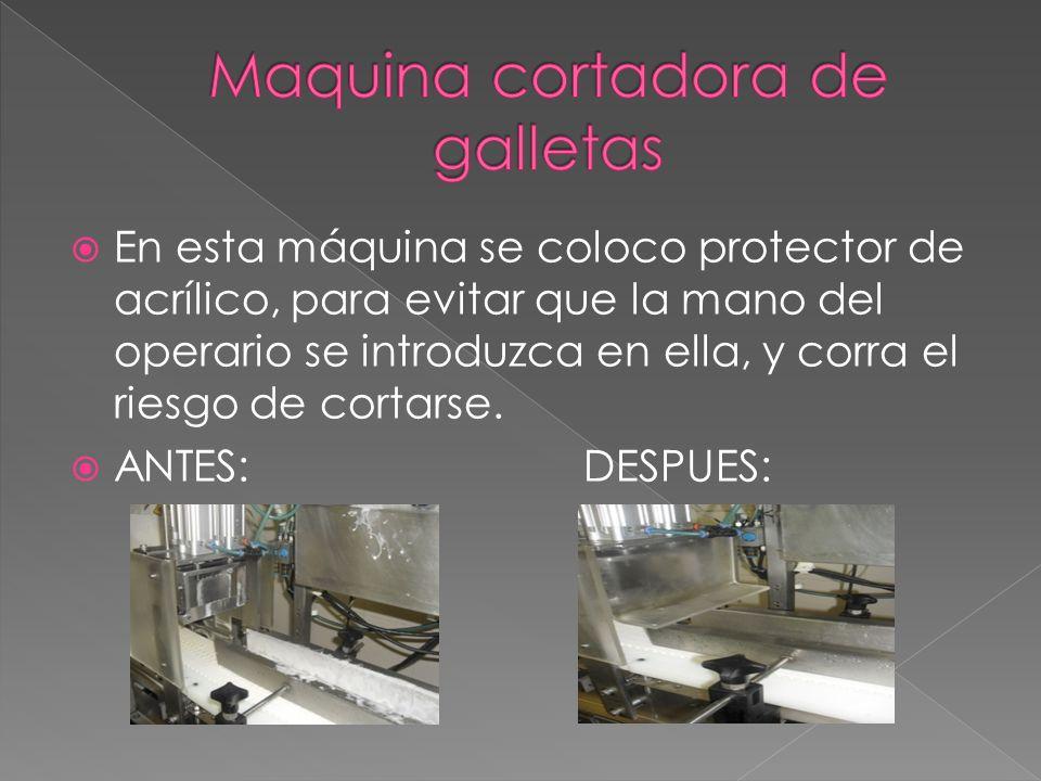 En esta máquina se coloco protector de acrílico, para evitar que la mano del operario se introduzca en ella, y corra el riesgo de cortarse.