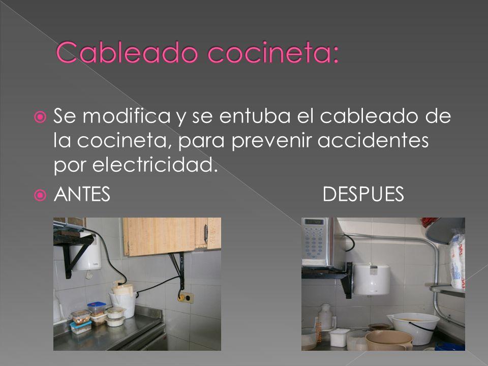 Se modifica y se entuba el cableado de la cocineta, para prevenir accidentes por electricidad. ANTESDESPUES