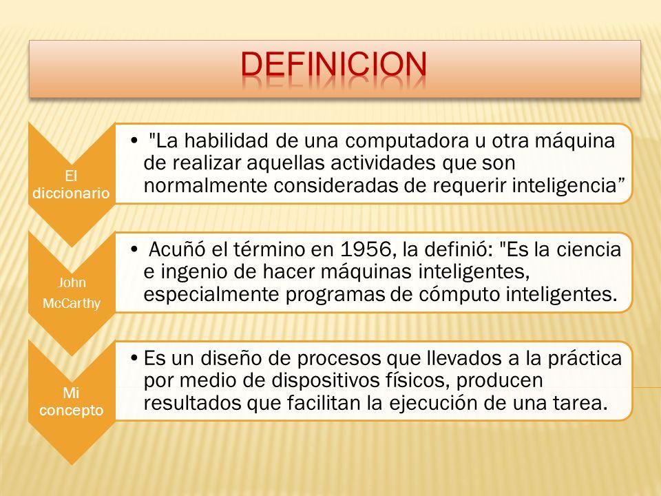 El diccionario La habilidad de una computadora u otra máquina de realizar aquellas actividades que son normalmente consideradas de requerir inteligencia John McCarthy Acuñó el término en 1956, la definió: Es la ciencia e ingenio de hacer máquinas inteligentes, especialmente programas de cómputo inteligentes.