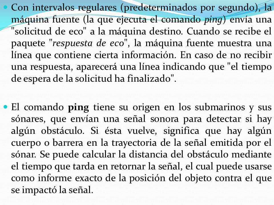 Con intervalos regulares (predeterminados por segundo), la máquina fuente (la que ejecuta el comando ping) envía una