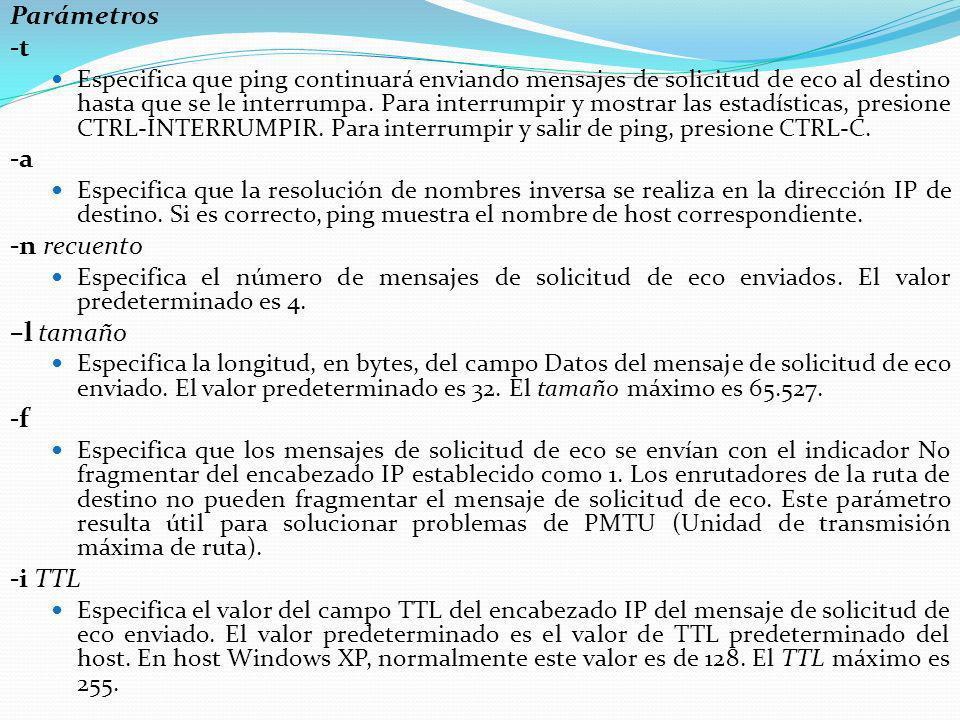Parámetros -t Especifica que ping continuará enviando mensajes de solicitud de eco al destino hasta que se le interrumpa. Para interrumpir y mostrar l