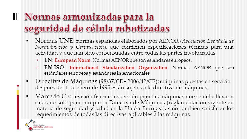 Normas UNE: normas españolas elaborados por AENOR (Asociación Española de Normalización y Certificación), que contienen especificaciones técnicas para una actividad y que han sido consensuadas entre todas las partes involucradas.