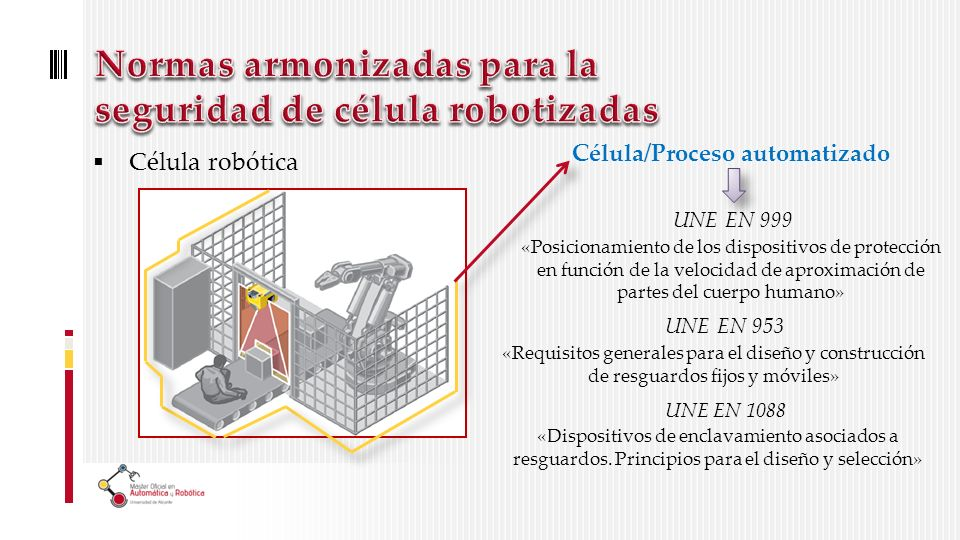 Célula robótica Célula/Proceso automatizado UNE EN 999 «Posicionamiento de los dispositivos de protección en función de la velocidad de aproximación de partes del cuerpo humano» UNE EN 953 «Requisitos generales para el diseño y construcción de resguardos fijos y móviles» UNE EN 1088 «Dispositivos de enclavamiento asociados a resguardos.
