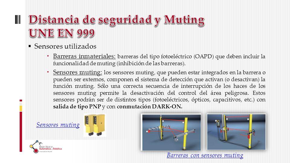 Sensores utilizados Barreras inmateriales: barreras del tipo fotoeléctrico (OAPD) que deben incluir la funcionalidad de muting (inhibición de las barreras).