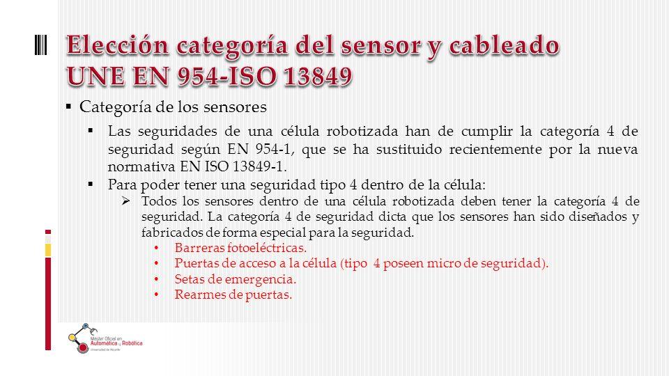 Categoría de los sensores Las seguridades de una célula robotizada han de cumplir la categoría 4 de seguridad según EN 954-1, que se ha sustituido recientemente por la nueva normativa EN ISO 13849-1.