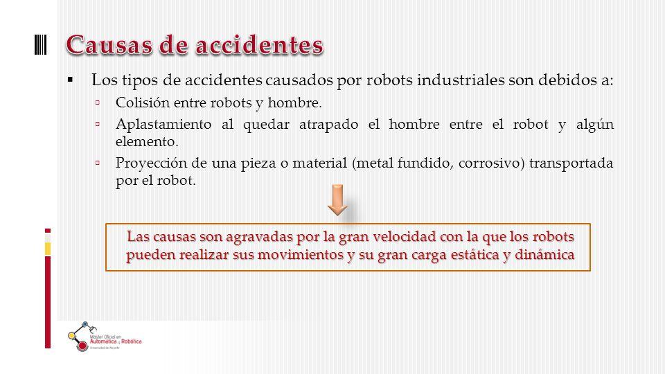 Los tipos de accidentes causados por robots industriales son debidos a: Colisión entre robots y hombre.