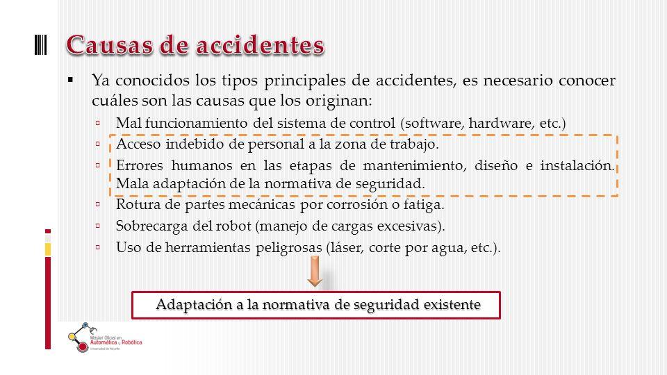 Ya conocidos los tipos principales de accidentes, es necesario conocer cuáles son las causas que los originan: Mal funcionamiento del sistema de control (software, hardware, etc.) Acceso indebido de personal a la zona de trabajo.