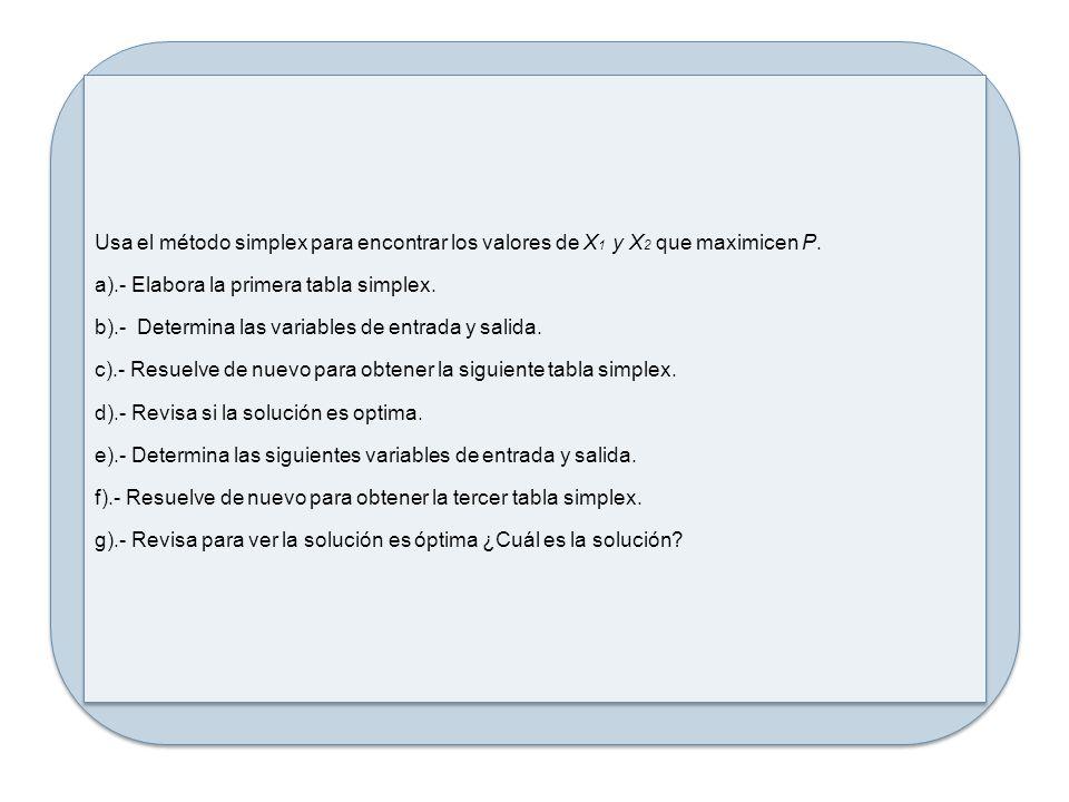 Usa el método simplex para encontrar los valores de X 1 y X 2 que maximicen P. a).- Elabora la primera tabla simplex. b).- Determina las variables de