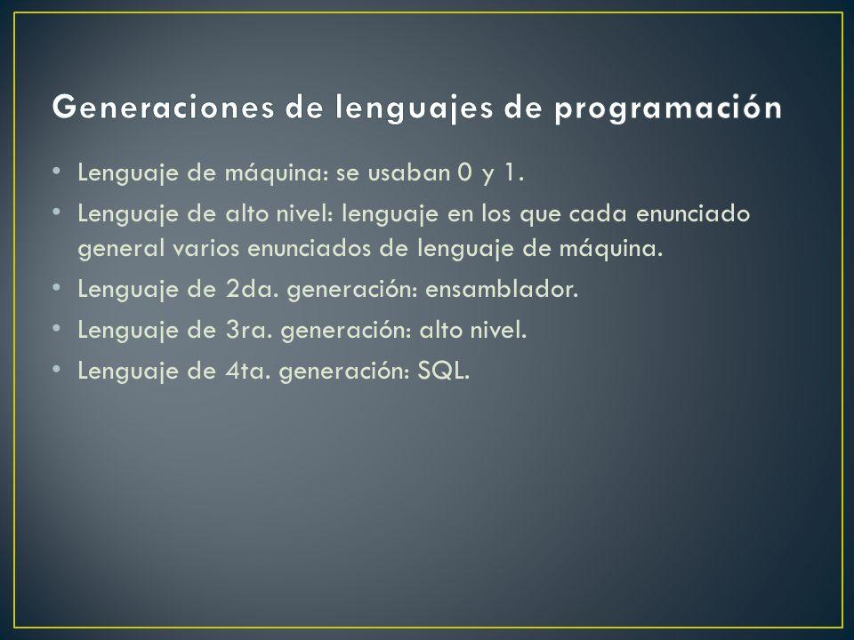 Lenguaje de máquina: se usaban 0 y 1. Lenguaje de alto nivel: lenguaje en los que cada enunciado general varios enunciados de lenguaje de máquina. Len