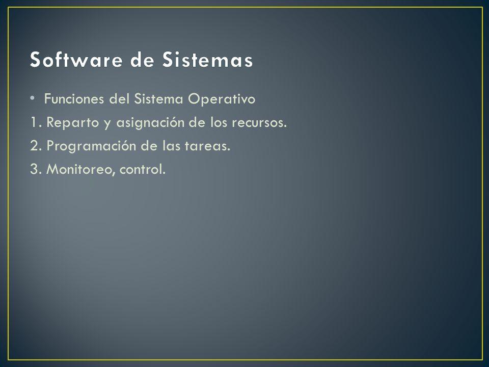 Funciones del Sistema Operativo 1. Reparto y asignación de los recursos. 2. Programación de las tareas. 3. Monitoreo, control.