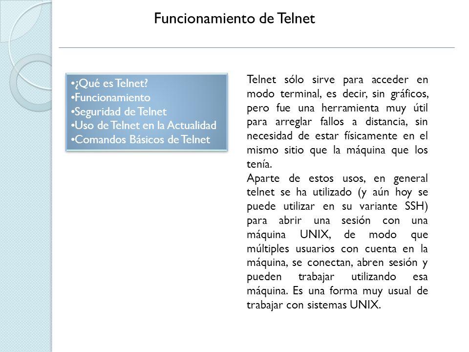Seguridad de Telnet ¿Qué es Telnet.