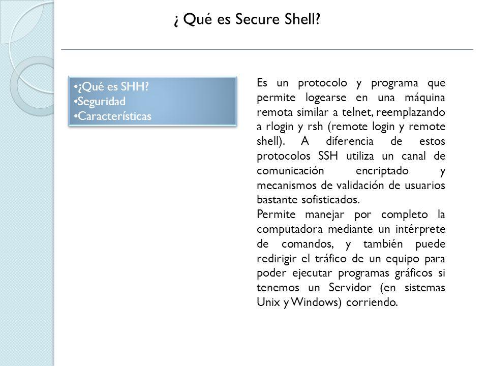 Seguridad ¿Qué es SHH.Seguridad Características ¿Qué es SHH.
