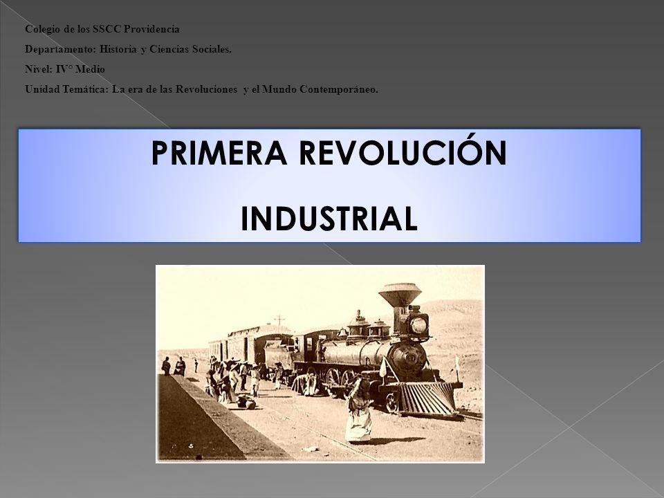 PRIMERA REVOLUCIÓN INDUSTRIAL La Revolución Industrial fue un proceso de evolución que transformó a una sociedad de una economía agrícola tradicional, en otra con procesos de producción mecanizados para fabricar bienes a gran escala.