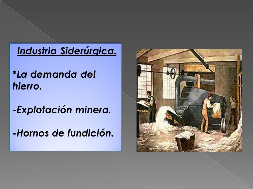 Industria Siderúrgica. * La demanda del hierro. - Explotación minera. - Hornos de fundición. Industria Siderúrgica. * La demanda del hierro. - Explota