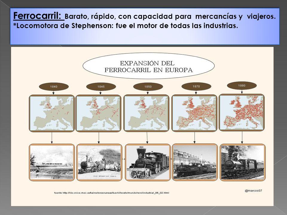 Ferrocarril: Barato, rápido, con capacidad para mercancías y viajeros. *Locomotora de Stephenson: fue el motor de todas las industrias. Ferrocarril: B