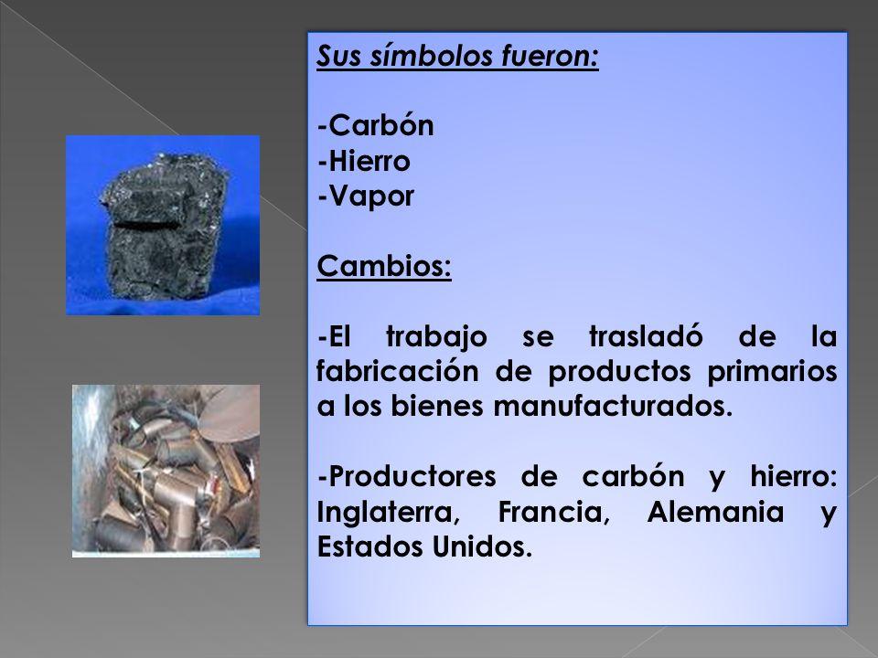 Sus símbolos fueron: - Carbón -Hierro -Vapor Cambios: -El trabajo se trasladó de la fabricación de productos primarios a los bienes manufacturados. -P