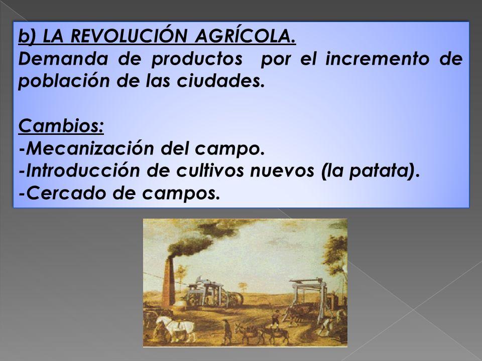 b) LA REVOLUCIÓN AGRÍCOLA. Demanda de productos por el incremento de población de las ciudades. Cambios: - Mecanización del campo. -Introducción de cu