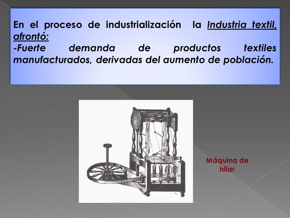 En el proceso de industrialización la Industria textil, afrontó: -Fuerte demanda de productos textiles manufacturados, derivadas del aumento de poblac