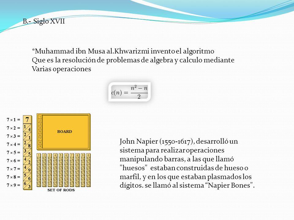 B.- Siglo XVII *Muhammad ibn Musa al.Khwarizmi invento el algoritmo Que es la resolución de problemas de algebra y calculo mediante Varias operaciones