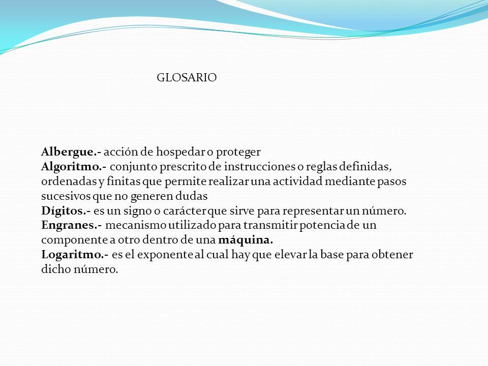 GLOSARIO Albergue.- acción de hospedar o proteger Algoritmo.- conjunto prescrito de instrucciones o reglas definidas, ordenadas y finitas que permite