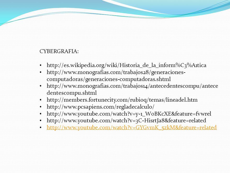 CYBERGRAFIA: http://es.wikipedia.org/wiki/Historia_de_la_inform%C3%A1tica http://www.monografias.com/trabajos28/generaciones- computadoras/generacione