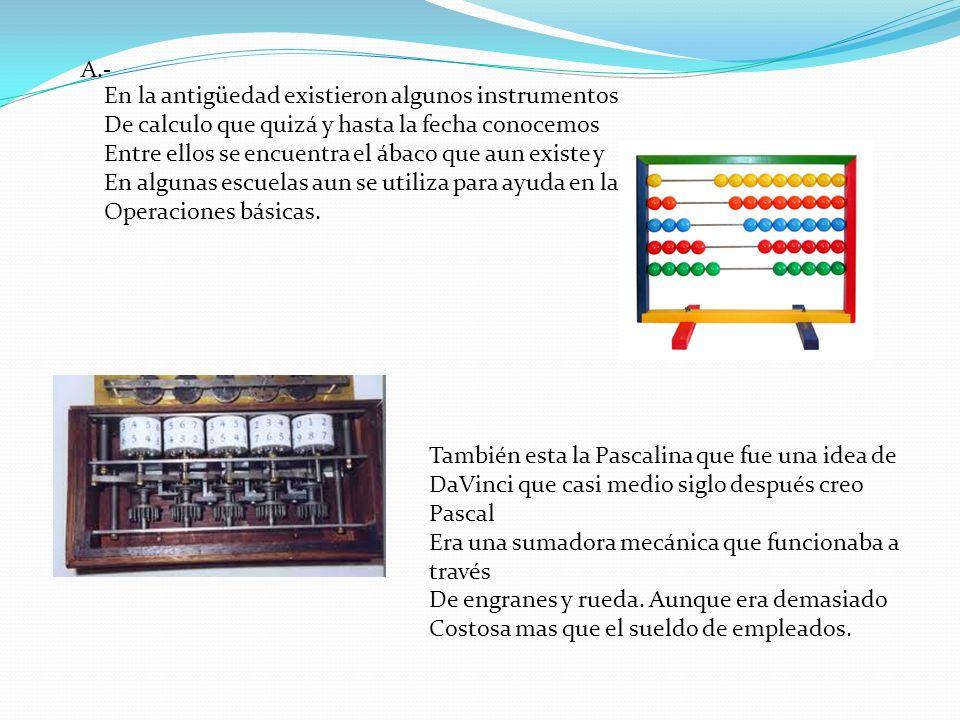 En la antigüedad existieron algunos instrumentos De calculo que quizá y hasta la fecha conocemos Entre ellos se encuentra el ábaco que aun existe y En