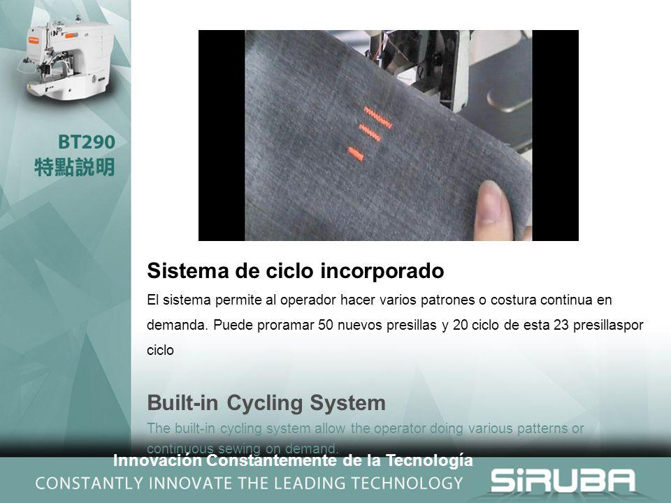 Sistema de ciclo incorporado El sistema permite al operador hacer varios patrones o costura continua en demanda.