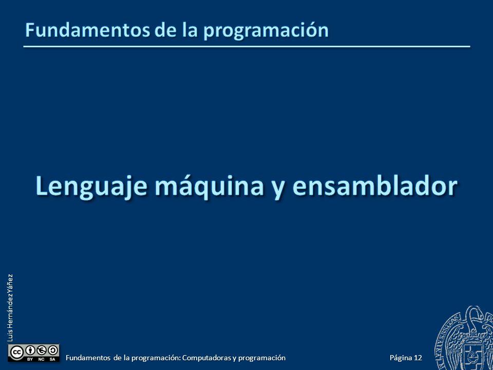 Luis Hernández Yáñez Página 12 Fundamentos de la programación: Computadoras y programación