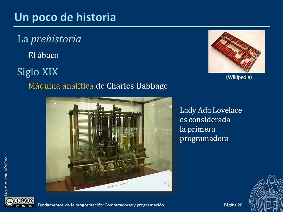 Luis Hernández Yáñez La prehistoria El ábaco Siglo XIX Máquina analítica de Charles Babbage Página 20 Fundamentos de la programación: Computadoras y p
