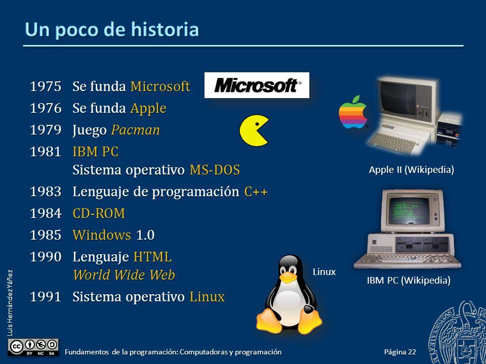 Luis Hernández Yáñez 1975Se funda Microsoft 1976Se funda Apple 1979Juego Pacman 1981IBM PC Sistema operativo MS-DOS 1983Lenguaje de programación C++ 1