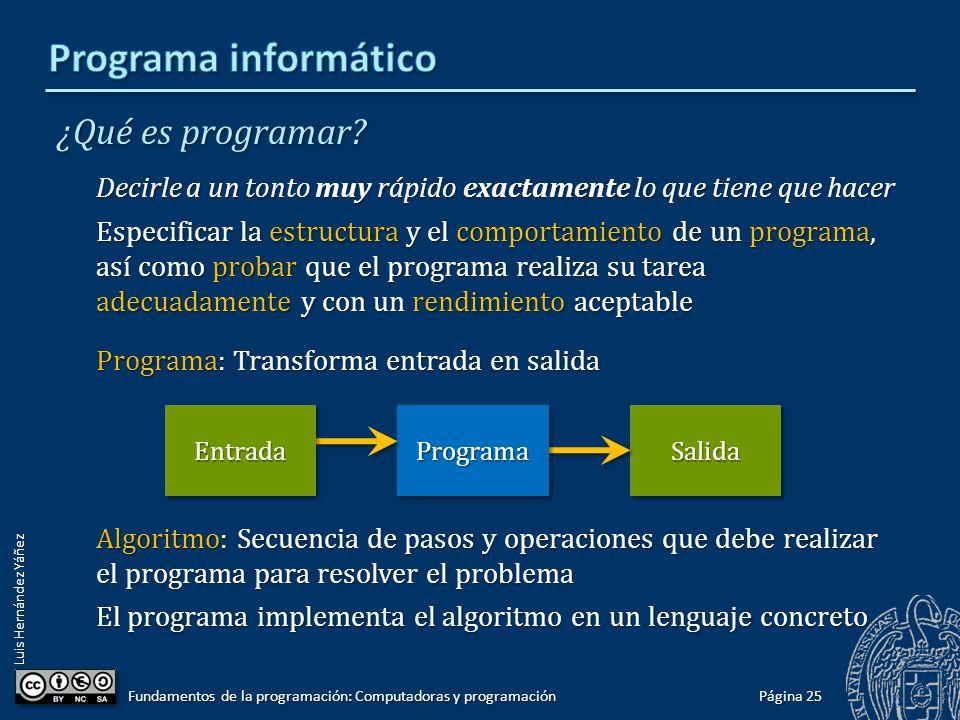 Luis Hernández Yáñez ¿Qué es programar? Decirle a un tonto muy rápido exactamente lo que tiene que hacer Especificar la estructura y el comportamiento