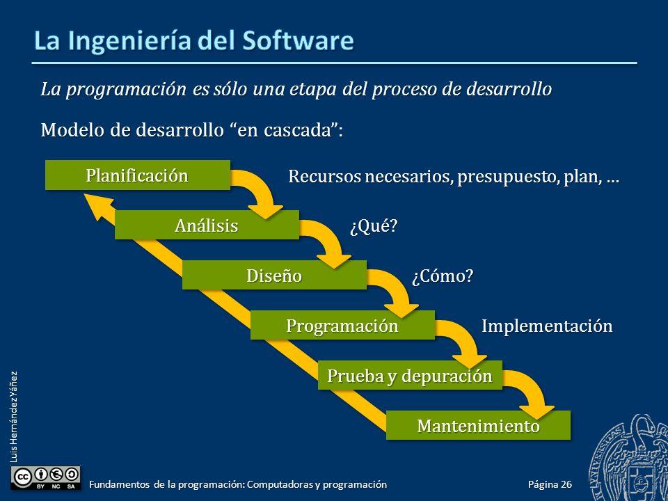 Luis Hernández Yáñez La programación es sólo una etapa del proceso de desarrollo Modelo de desarrollo en cascada: Página 26 Fundamentos de la programa