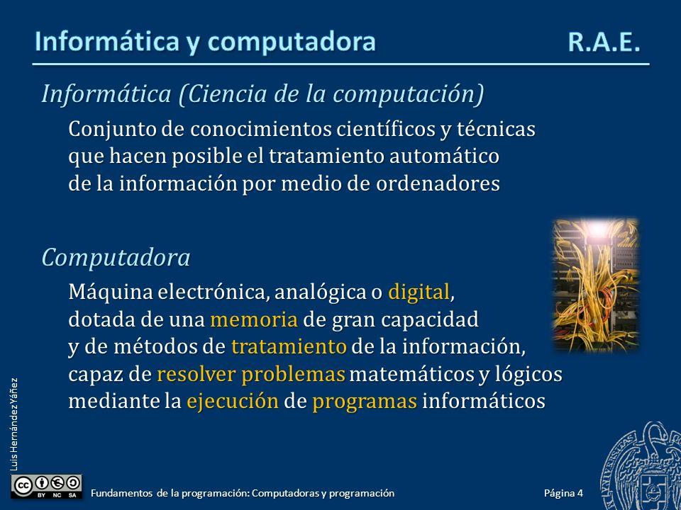 Luis Hernández Yáñez Informática (Ciencia de la computación) Conjunto de conocimientos científicos y técnicas que hacen posible el tratamiento automát