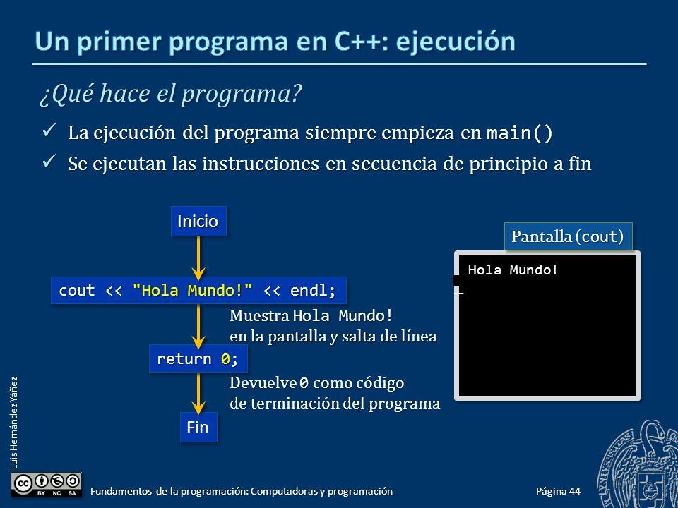 Luis Hernández Yáñez ¿Qué hace el programa? La ejecución del programa siempre empieza en main() La ejecución del programa siempre empieza en main() Se