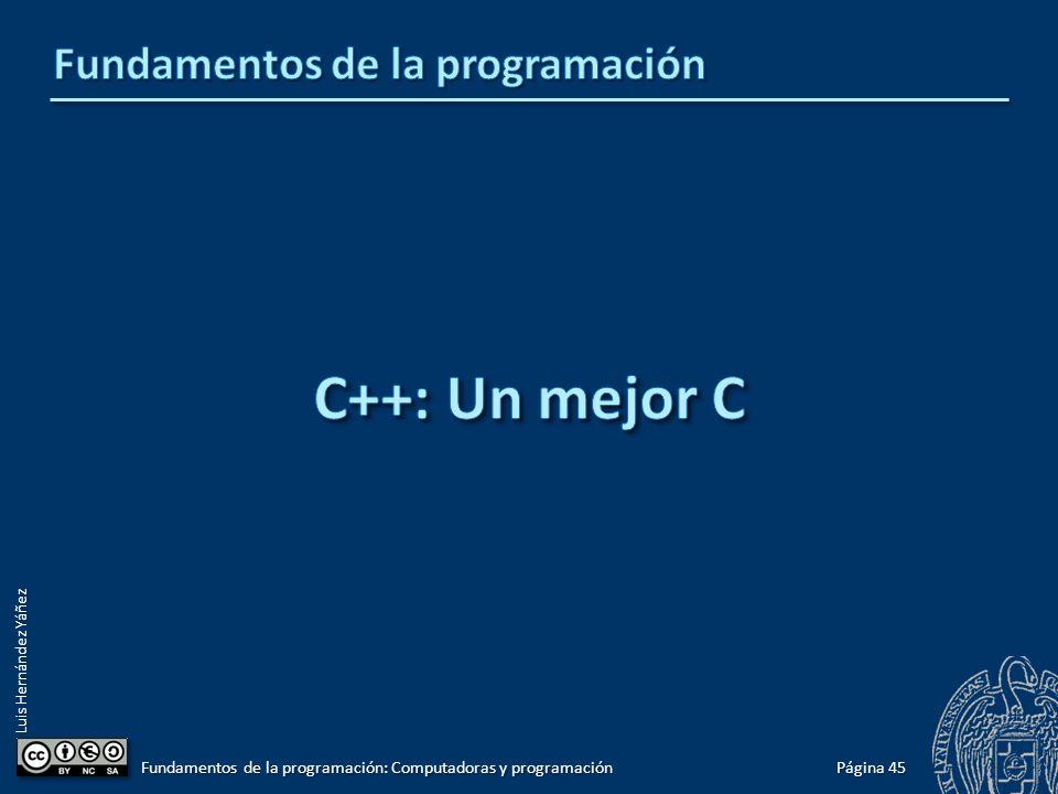 Luis Hernández Yáñez Página 45 Fundamentos de la programación: Computadoras y programación